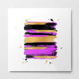 Black Pink And Gold Abstract Paint Lines Metal Print