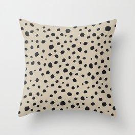 Spots Animal Print Beige Throw Pillow