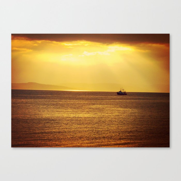 Going Fishing at sunset Canvas Print