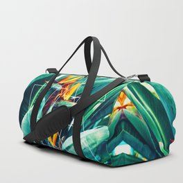 Modern white geometric triangle tropical bird of paradise photography Duffle Bag
