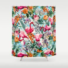 Floral and Flamingo VII pattern Shower Curtain