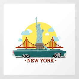 Cabriolet car on the background of the Statue of Liberty and Golden Gate Bridge Art Print