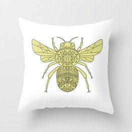 Bumble Bee Mandala Throw Pillow