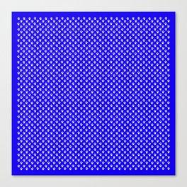 Tiny Paw Prints Pattern - Bright Blue & White Canvas Print