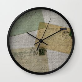 Vintage Postcards with Script Background Wall Clock