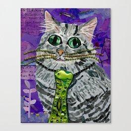 Cat & Fish Tie Canvas Print