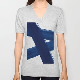 Indigo Abstract Brush Strokes | No. 4 Unisex V-Neck