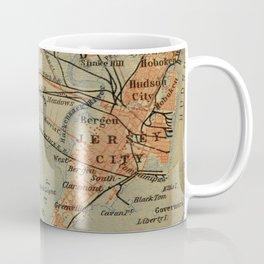 Vintage Jersey City, Newark, Elizabeth NJ Map (1894) Coffee Mug