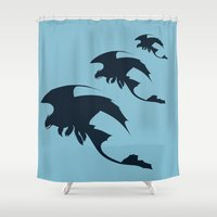 toothless Shower Curtains featuring Toothless by Dewdroplet