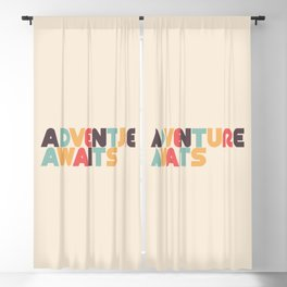 Adventure Awaits Retro Rainbow Typography Blackout Curtain