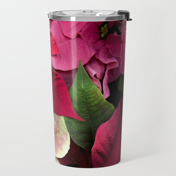 Colorful Christmas Poinsettias, Scanography Travel Mug