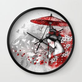 Falling blossoms Wall Clock