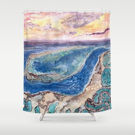 Great Barrier Reef at sunset - aerial view - coral reef - wall art Shower Curtain