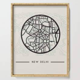 New Delhi Abstract City Map Serving Tray