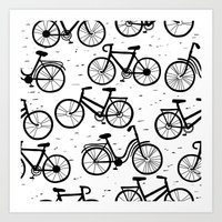 bikes Art Prints featuring Bikes by sarknoem
