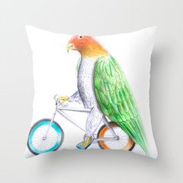 Happy Parrot and his bike Throw Pillow