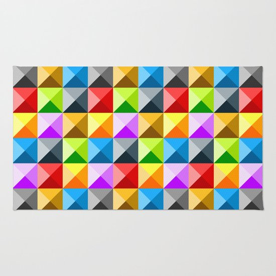 Colorful quarter square triangle pattern Rug
