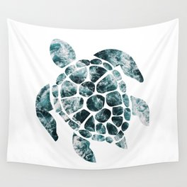 Sea Turtle - Turquoise Ocean Waves Wall Tapestry