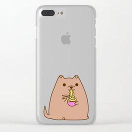 Pupsheen Eating Ramen Clear iPhone Case