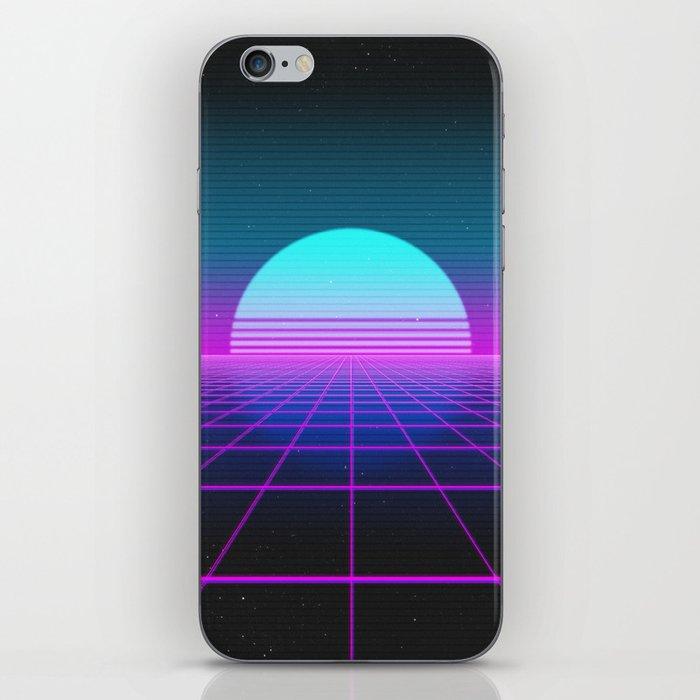 80's Retro Neon Grid iPhone Skin
