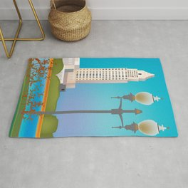 Baton Rouge, Louisiana - Skyline Illustration by Loose Petals Rug