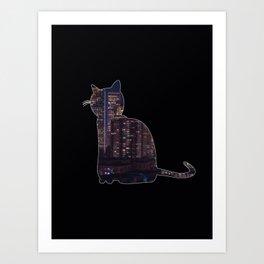 City Night Cat Art Print