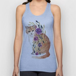 cat with flower boa Unisex Tank Top