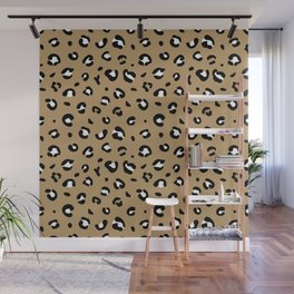 Spotted little leopard minimal animals print panther pattern cinnamon ochre Wall Mural