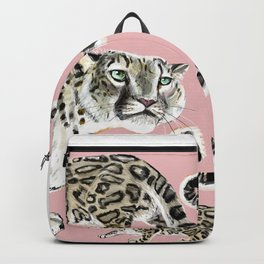 Snow Leopard in Pink Backpack