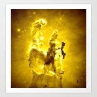nebula Art Prints featuring Yellow neBUla  by 2sweet4words Designs