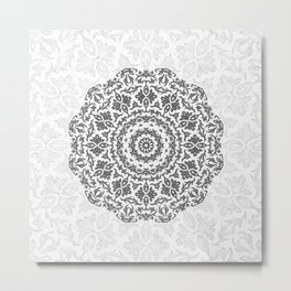 Bohemian Glittering Floral Mandala Metal Print