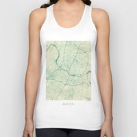 austin Tank Tops featuring Austin Map Blue Vintage by City Art Posters