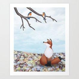fox and eastern bluebirds Art Print