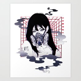 Vaporwave Japanese Cyberpunk Urban Style  Art Print