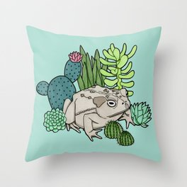 Toad with Succulents - Turquoise Throw Pillow
