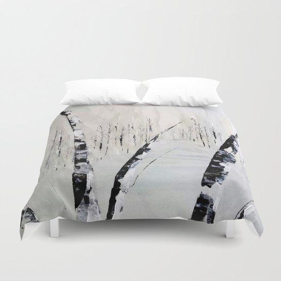 Winter Birch Forest Duvet Cover