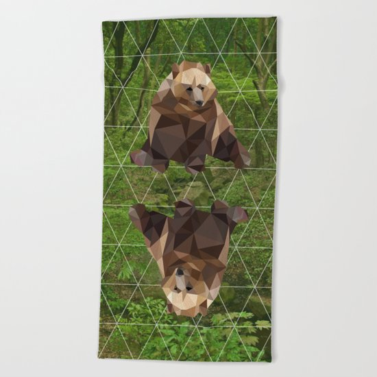 Bear in the woods Beach Towel