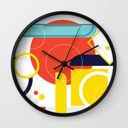 Bright geometric abstraction Wall Clock