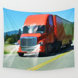 Big Red - Lorry Art for Truck-lovers and Truckers Wall Tapestry