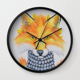 Fox Fur and Pearls Wall Clock
