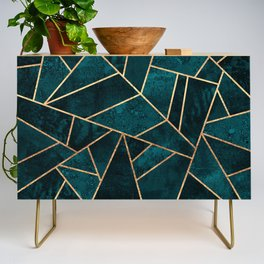 Deep Teal Stone Credenza