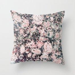 Rustic vintage black pastel pink marble Throw Pillow