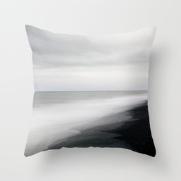 Black Beach, Iceland Abstract Landscape Throw Pillow