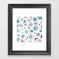 Snowflakes and Butterflies Framed Art Print