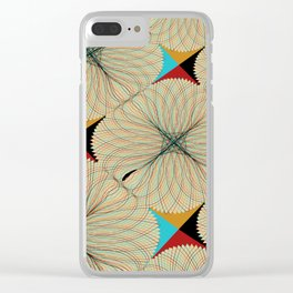 Decorative Pattern in Gold, Blue, Red, and Black on Tan Clear iPhone Case