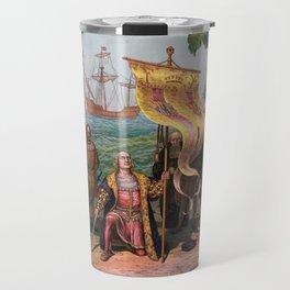 Columbus Landing in America Painting (1892) Travel Mug