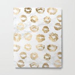 Fashion Lips Gold Lipstick on Marble Metal Print