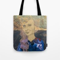 tina crespo Tote Bags featuring Tina by Nina Schulze Illustration