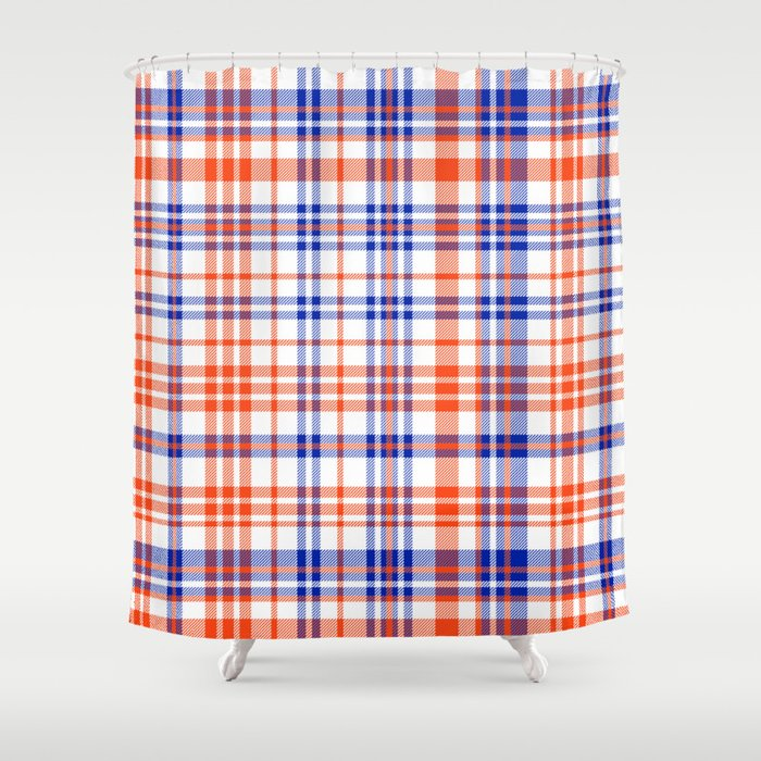 Florida University silhouette orange and blue pattern sports football college gators gator fan plaid Shower Curtain