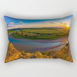 Picture USA Theodore Roosevelt National Park Medora Nature park Grasslands Sunrises and sunsets landscape photography Rivers Clouds Parks Meadow Scenery sunrise and sunset river Rectangular Pillow
